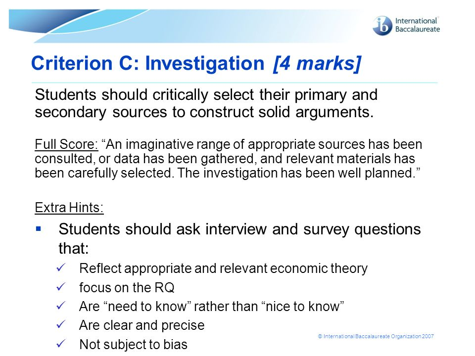 Criterion C: Investigation [4 marks]